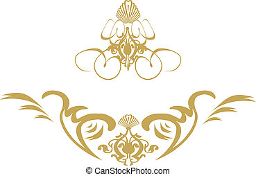 swirl shield gold - A gothic style image with space for your...