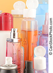 beauty products - different beauty product bottles showing...