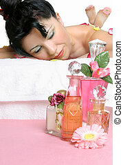 Massage with essential oils - Aroma Spa A woman on a massage...