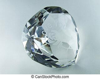 Diamond - Shinny polished diamond engraved with I love you