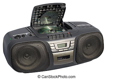 Black Boom Box - Portable Stereo CD Radio Cassette Recorder;...