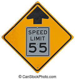 Speed Limit Drops To 55 Ahead sign