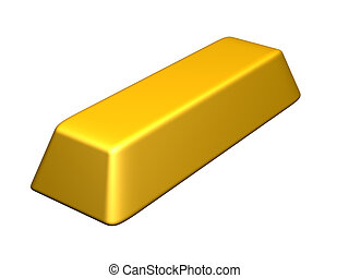 Gold Bar - 3D rendered Illustration. Isolated on white.