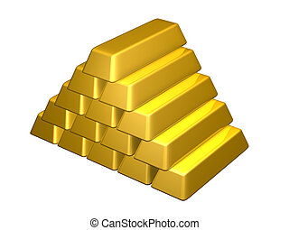 Gold Bars - 3D rendered Illustration. Isolated on white.