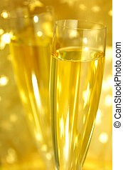 Champagne glass - Close-up view of flute Champagne glasses...