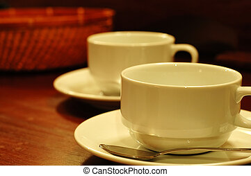 Teacups and basket - Two tea-cups and handmade basket