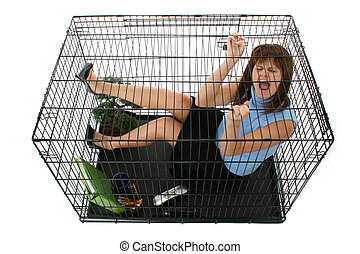 Caged - Twenty something business woman trapped in cage