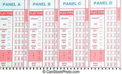 Lottery play slip - Random number lottery play slip
