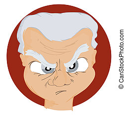 Expressions Icon: Angry Man with Clipping Path