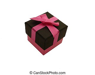 Gift box/present - Pink and black cuboid gift box with pink...