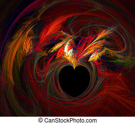 Flaming Heart - Red-Hot Love - Burning Desire - Valentine...