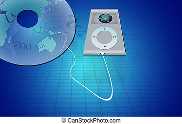 World of Music - MP3 Player plugged into stylized CD with a...