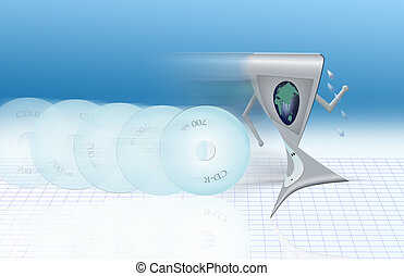 No More - Stylized MP3 player being chased by cds wanting to...