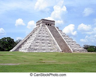 Mayan pyramid temple at the Chichen-Itza archaeological...