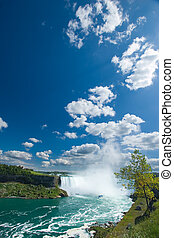 Niagara Falls - Wide angle view of the Horseshoe Falls taken...
