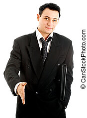 ready to shake hands - picture of businessman ready to shake...