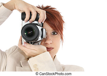 Photographer - Beautiful thirty something woman with digital...