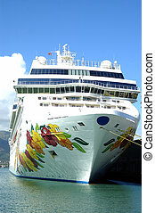 Tropical Cruise ship - A cruise ship in tropical waters on a...