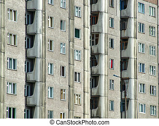 Grim apartment block in Russia - Communist era relic -...