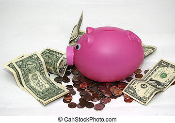 Piggy Bank II - Piggy bank and money symbolying the concept...