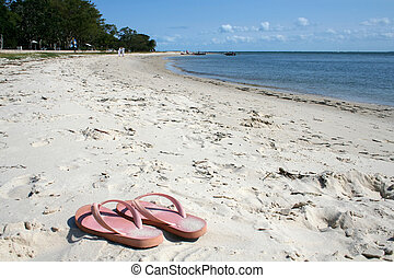Thongs on the Beach - A pair of pink thongs on the beach in...
