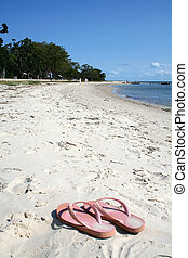 Thongs on the Beach - A vertical image of thongs on the...