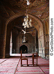 Masjid Wazir Khan - Interior of Masjid Wazir Khan with bench...