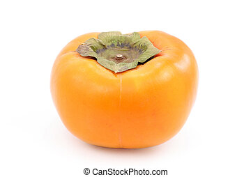 ripe persimmon - A fresh ripe persimmon, isolated on white.