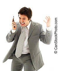 problem - angry business man with cellular phone over white