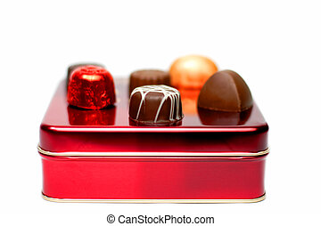 Assorted chocolates on a red box