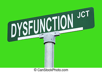 "Street Sign - Humorous ""Dysfunction Junction"" sign with..."