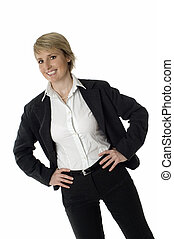 business woman - young business woman smiling on white...