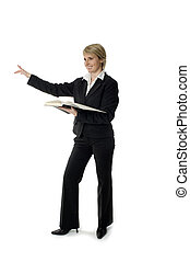 business women - young business woman pointing on white...