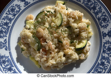 risotto - Prawn Risotto on a plate from top close up