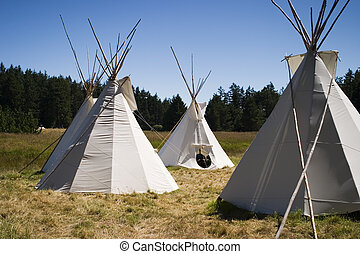 Teepee Camp In Meadow - A small group of four teepees forms...
