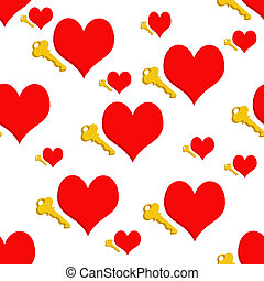 repeating hearts - An Illustrated repeating heart and key...