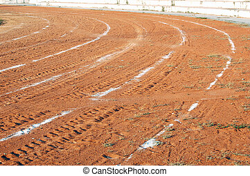 Grit track - Abstract of a local athletics running track of...