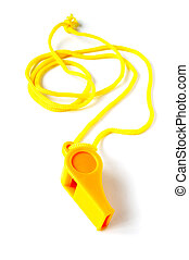 football whistle - Yellow football whistle on a white...