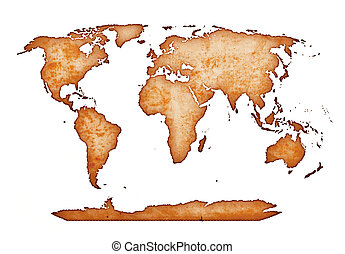 world map - ancient world map isolated on white