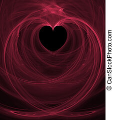 Black Heart Pink Swirls - A valentine background in pink and...