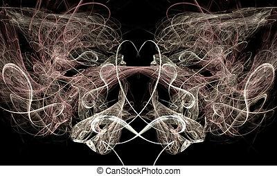 Heart and Swirls on Black