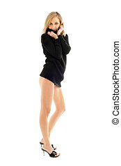 black sweater pin-up - tall lady in black sweater over white