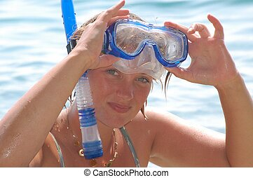 Come Snorkeling - Girl with Snorkel Equipment