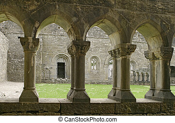 Ancient Abbey Cloisters - The inner courtyard of an ancient...
