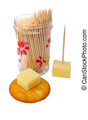 Cheese Cracker - cracker and cheese and container of...