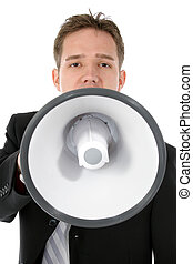 Attractive Young Business Man with Bullhorn - Attractive...