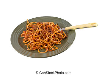 Spaghetti on green plate
