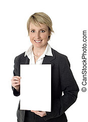 businesswoman holding white paper on white background