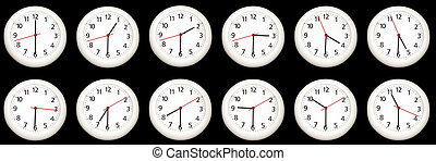 Half past the hour. - A collage of clock telling the time -...