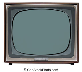 BW Television - Old nostalgic TV with clipping path inside...